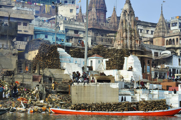 Traditional cremation on the banks of the Ganges River