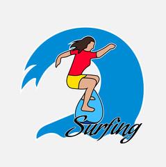Surfer's drawing on the Hawaiian wave