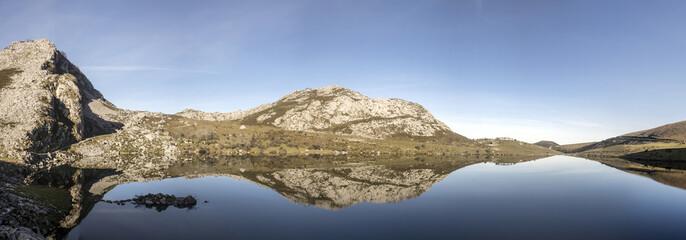 Landscape of Enol lake on National Park of Picos de Europa,