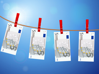 five euro banknotes on clothesline