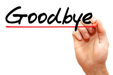Hand writing Goodbye with marker, business concept