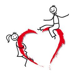 Verliebtes Paar auf rotem Herz