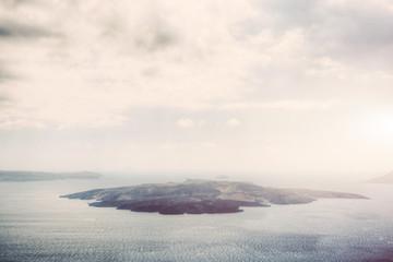 Nea Kameni volcanic island in Santorini, Greece