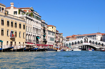 view of the Grand Canal and Rialto Bridge  in Venice, Italy.