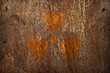 nuclear radiation sign on rusty metal texture