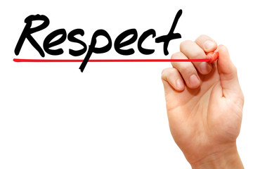 Hand writing Respect with marker, business concept