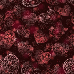 Seamless pattern of hearts in maroon colors