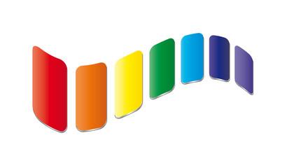 Rechtecke gewellt in den Chakra Farben