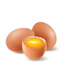 chicken eggs and egg yolk