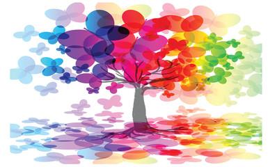 rainbow abstract tree