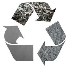 Recycle logo with Aluminium texture