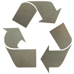 Recycle logo with Aluminium texture