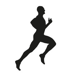 Isolated vector silhouette of a runner.