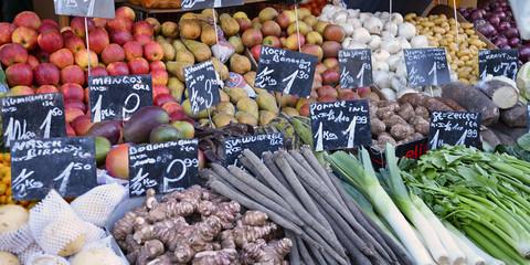marktstand, gemüse, obst