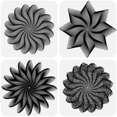 Set of abstract flowers. Vector