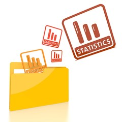 file folder with three statistics sign