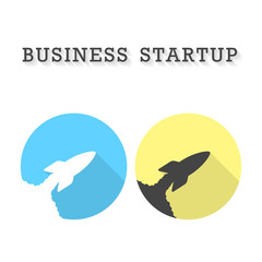 business startup with two rocket take off icons