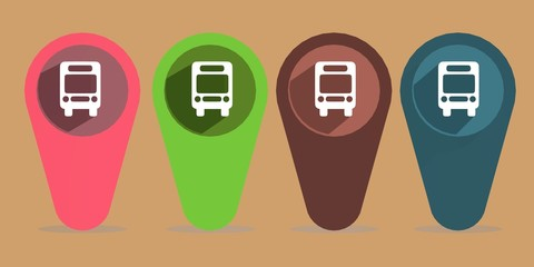 flat design bus map pointer