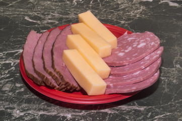 Meat, boiled sausage and cheese