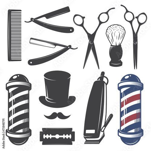 Set of vintage barber shop elements. - 75848791