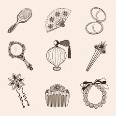 Lady's vintage beauty accessories collection.