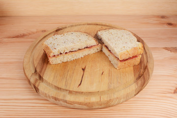 Freshly-made peanut butter and jam sandwiches