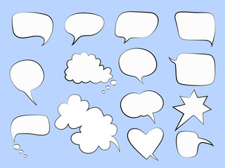 Vector illustration of speech bubbles on a blue backgroung