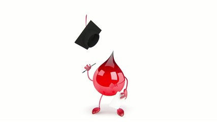 Red Blood Drop Cartoon Character