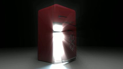 opened Retro Fridge refrigerator in red retro color.