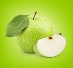 Ripe green apple with leaf and slice with clipping path
