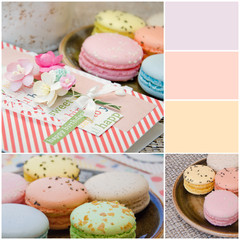 Different delicious macaroons in collage