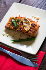 Salmon fillet with lemon and rosemary