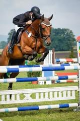 Reitsport - Hindernisreiten, Pferd und Reiter beim Absprung