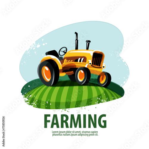 tractor vector logo design template. harvest or farm icon.