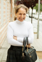 cheerful middle-aged woman