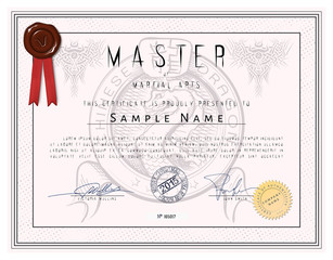 Certificate - Master of martial arts with chinese dragon