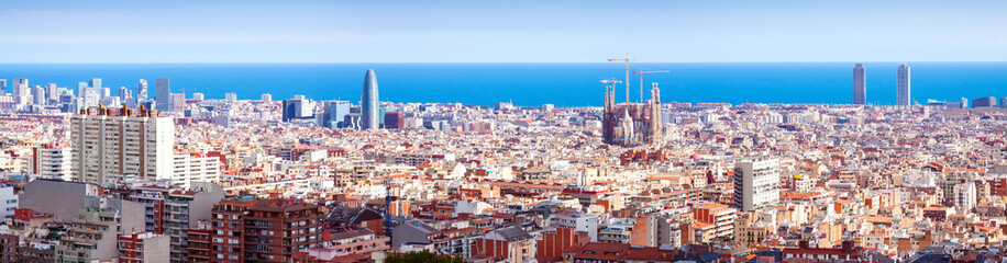 Top panoramic view of Barcelona  in sunny day