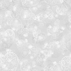 Seamless pattern of hearts in light gray colors