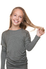Smiling girl with flowing hair