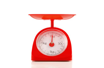 close up red plastic kilograms scale on white background