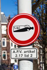 Verkehrszeichen für Alkoholfahrverbot in Amsterdam