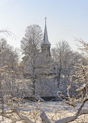 canvas print picture Church in snowy Herastrau park