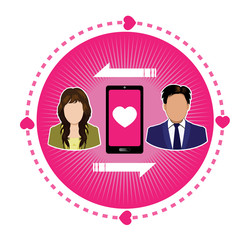 connecting couple of lover icon