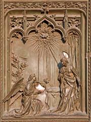 Milan - detail from main bronze gate - Annuntiation