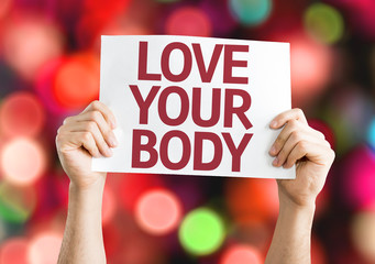 Love Your Body card with colorful background