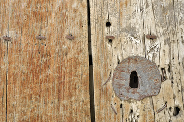 lock on old wooden door