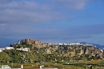 The castle and white houses in the Spanish town of Salobrena