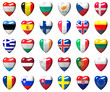 European Union countries flags wrapped in 3d heart
