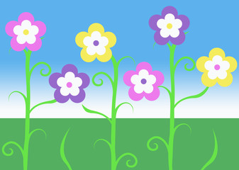 pink purple and yellow spring easter vine flowers illustration
