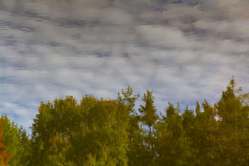 Water reflection of clouds and trees-Czech Rep.
